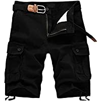 Yying Pantalones Cortos Ocasionales Militares Capri Cargo con Bolsillos Múltiples