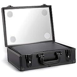 Caja cosmética portátil del maquillaje del viaje del caso con el espejo y la luz LED de 3 colores, tablero de cepillo del maquillaje desmontable, compartimiento ajustable del tamaño
