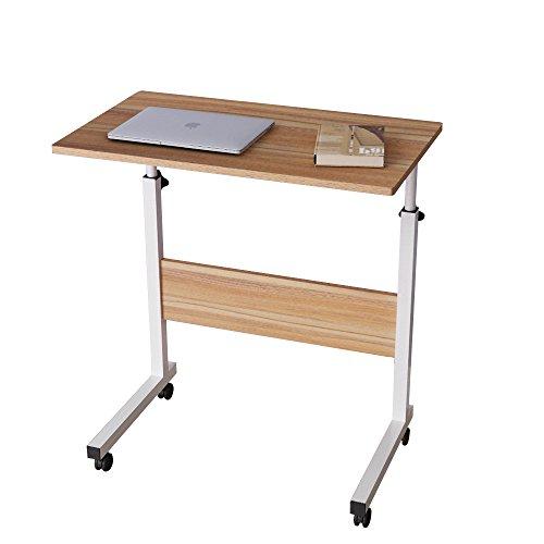 DlandHome 60 * 40 cm Ajustable Mesa de Ordenador Portatil con Ruedas Sofá Mesa Mesas de Centro, Roble