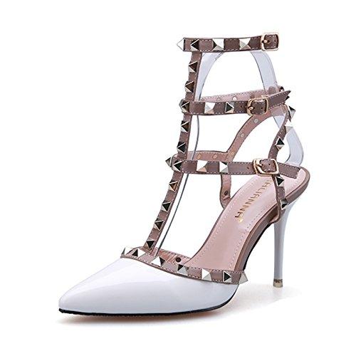 LGK&FA Estate Donna Sandali tacco raffinati sandali moda estate scarpe a punta Roma rivetti scarpe Tacchi Alti 36 Grigio Chiaro 36 white