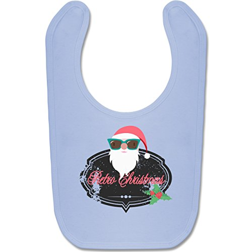 Shirtracer Weihnachten Baby - Retro Christmas Weihnachstmann - Unisize - Babyblau - BZ12 - Baby Lätzchen Baumwolle (Hässliche Für Ideen Sweater Christmas)