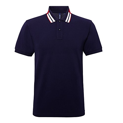Asquith & Fox Herren Kurzarm 2 Tone Kragen Polo Shirt Kelly/Marineblau/Weiß