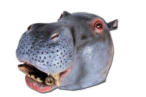 Hippo Kostüm Adult - Hippo Animal Zoo Safari Overhead Rubber Adult Fancy Dress Mask