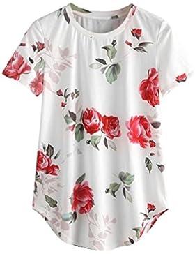 Camiseta mujer, Challeng Para mujer - Camiseta estampada floral para mujer de manga corta casual / Tops / Blusa...