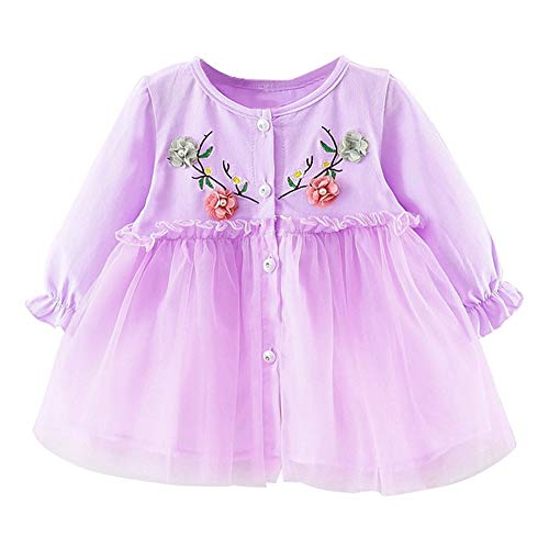 (JUTOO Baby Mädchen Kleinkind Kinder Langarm Blume Gaze Kleidung Party Prinzessin Kleider (Lila,100))