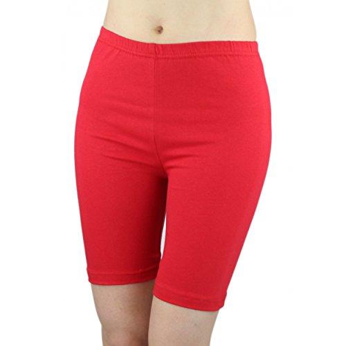 Damen Radlerhose Sport Shorts Hotpants Baumwolle Kurze Leggings oberhalb des Knies , Farbe: Rot, Größe: 44-46 (Rot Baumwolle Kurzen)