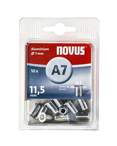 Novus Blindnietmutter Ø7 mm Aluminium, 10 Nietmuttern, M5 Gewinde, 11,5 mm Länge, für Kunststoff und Leichtbaumaterial
