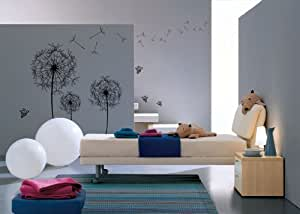 Walplus (TM) Huge Dandelion Wall Stickers - Home Decoration, 120cm x 120cm, PVC, Removable, Transparent Borders, Self-Adhesive, Multi-Color