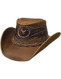 Modestone Antiqued Leather Chapeaux Cowboy Crocodile Skin Pattern Applique