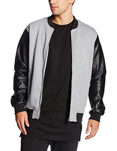 Urban Classics Herren Jacke Zipped Leather Imitation Sleeve Jacket, Mehrfarbig (Gry/Blk 119), XX-Large