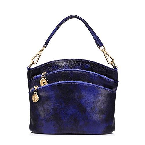 Borsa Donna Borsetta Tracolla Tote Cuoio Vintage Blu