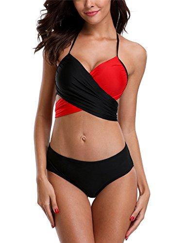 Charmo Damen Bikini Set Kontrast Neckholder Bikini Schalen Mit Quaste Träger Push Up Bandeau Mittlerer Bund Schwarz / Rot L