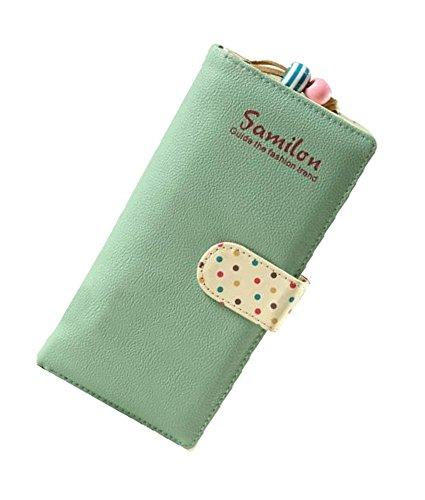 Minetome Damen PU-Leder Geldbörse Portemonnaie Reißverschluss Lange Geldbeutel Telefon Tasche Grün