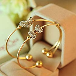 Feketeuki Moda y exquisitos brazaletes de Diamantes con Forma de Arco, Pulsera de Diamantes de imitación Joyas Personalizadas Moda Simple y generosa - Dorado