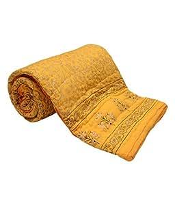 Monil Jaipuri Yellow Traditional Floral Design Double Bed Quilt, Jaipuri Razai
