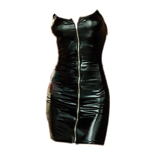 Ranboo Frauen Dessous Wet Look Erotische Metallic Nacht Rock Center Zipper (Schwarz) (Rock Center)