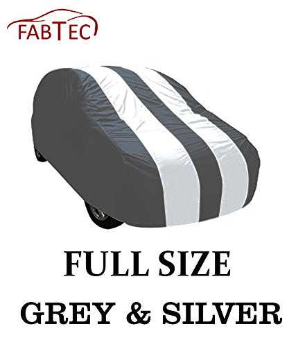 Fabtec Grey & Silver Stripe Car Body Cover For Hyundai i10 (Color May Vary) (Tirpal)  available at amazon for Rs.799