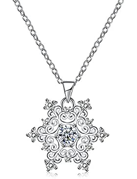 Schneeflocke Anhänger Halskette Weiß Cubic Zirkonia, platinierte Fashion Schmuck, 45,7cm