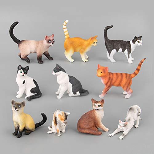 YeahiBaby Juguetes de estatuillas de Gato   Miniaturas de Animales de plástico realistas, Paquete de 10