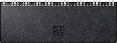 Rido/idé (703170290) Tischkalender/Querterminbuch ac-Wochenquerterminer (2 Seiten = 1 Woche, 307 x 105 mm, Kunstleder-Einband West, Kalendarium 2017, Wire-O-Bindung) schwarz