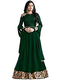 Ank Women's Green Banglori Georgette Embroidered Long Semi-Stitched Salwar Suit