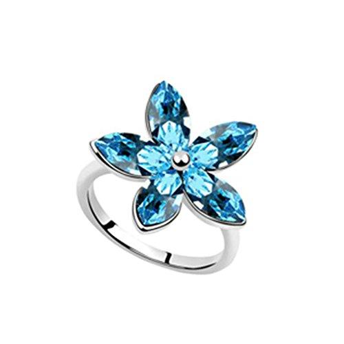 Kostüm Zelda Tumblr (AMDXD Schmuck Damen Ring Vergoldet Single Blume Meerblau Hochzeitsring Größe 53)