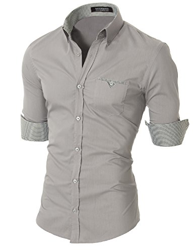 MODERNO Slim Fit Coton Casual Chemise Homme (VGD063LS) VGD063LS-Gris