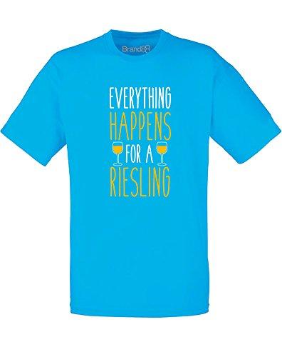Brand88 - Everything Happens for a Riesling, Mann Gedruckt T-Shirt Azurblau/Weiß/Gelb