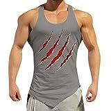 VENMO T-shirt Herren T-Shirts Tee Tops Bluse Shirt Hemd Weste Tank Pullover Lustiges Fun Sportarten Fitness Sport Tarnung äRmellos Unregelmäßig MäNner Unterhemd(Grau,Grau)