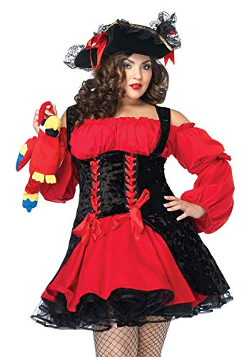 Piraten Kostüm Korsett - LEG AVENUE 83157 - Samt Piraten Kostüm Mit Schnüren Damen Karneval, Größe: 3XL/4XL (EUR 52-56)