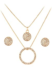 Shining Diva Fashion Gold Plated Jewellery American Diamond Fancy Party Wear Necklace Set / Pendant Set With Earrings...