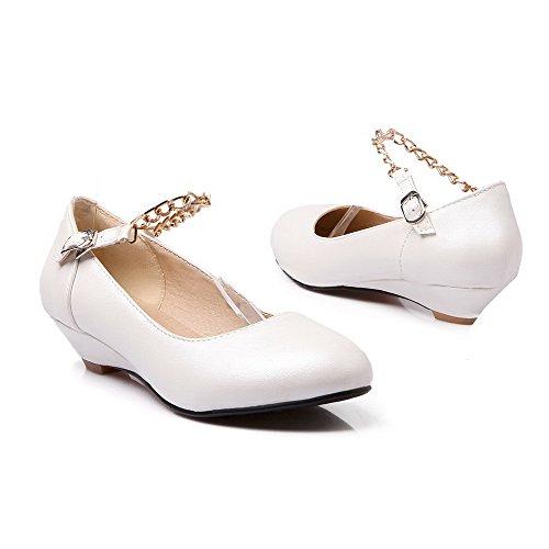 AllhqFashion Femme Pu Cuir à Talon Bas Rond Boucle Couleur Unie Chaussures Légeres Blanc