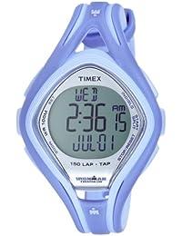 Timex Ironman Sleek 150 LAP T5K287 - Reloj de mujer de cuarzo, correa de goma color morado (con cuenta vueltas, cronómetro, alarma, luz)