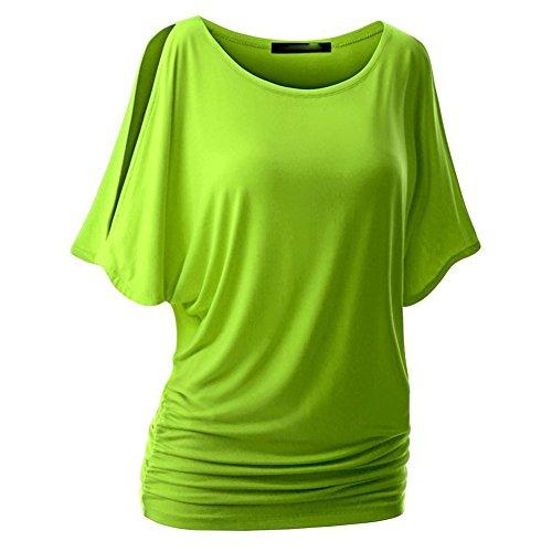 Hibote Femme Chemises Tshirt en coton oversize Baggy Tops chemise de batte Manches courtes Top Sexy col rond Chemisier Pull en vrac doux confortable 10 couleurs S-5XL Vert