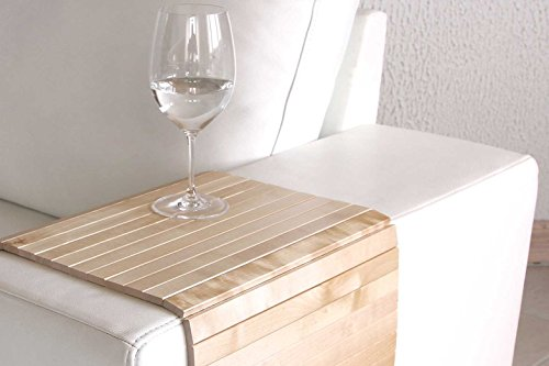 moebelhome Sofatablett Holz ~ Armlehnen Ablage Tablett BIRKE NATUR Armlehnenschoner Massiv-Holz -