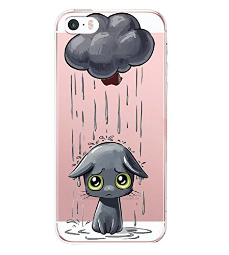 el mit iPhone SE Hülle Silikon Ultra dünn Transparent iPhone 5S iPhone 5 Handyhülle Rückschale TPU Schutzhülle für Apple iPhone SE / 5S / 5 Cover Mädchen Elefant Federn(4) ()