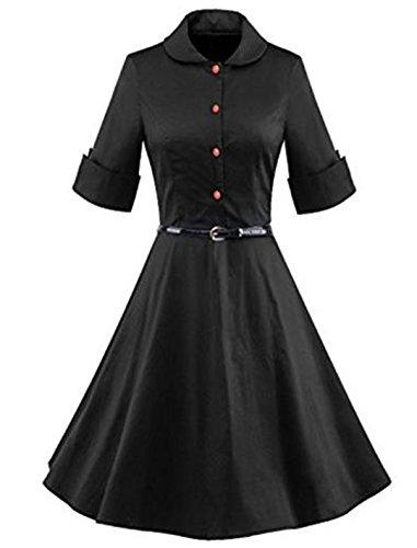 YOGLY Damen Kleide Mode Revers Knielang VintageKleid Abendkleider Cocktailkleider Brautkleid Cocktailkleid Ballkleid Minikleid Sommerkleid Partykleider Schwarz