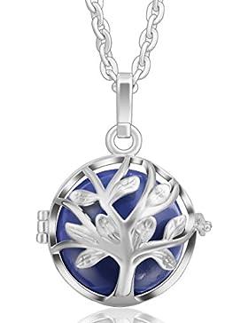 Eudora Harmony Ball Life Anhänger Baum haardosen Sterling Silber Schmuck Kette Halskette