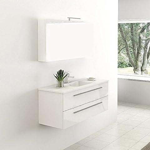 Home Deluxe | Badmöbel-Set | Wilhelmshaven | Weiß Hochglanz | inkl. Waschbecken und komplettem Zubehör