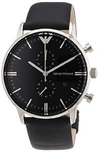 Emporio Armani AR0397 - Reloj cronógrafo de cuarzo para hombre, correa de cuero color negro de Emporio Armani