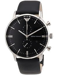 Emporio Armani AR0397 - Reloj cronógrafo de cuarzo para hombre, correa de cuero color negro