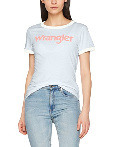 Wrangler Retro kabel Tee, T-Shirt Donna Grigio (Light Blue Mel Ui)