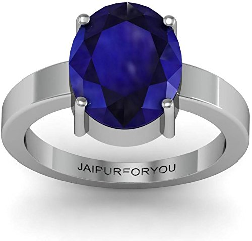 jaipurforyou Certified Blue Sapphire (Neelam) 7.40 cts or 8.25 ratti Silver ring