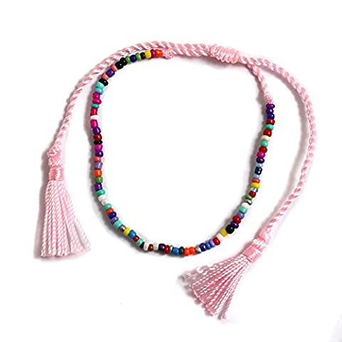 Multicoloured Beads and Pastel Pink Cord Ladies Ankle Bracelet Anklet perfect for Beach Summer Festival Season