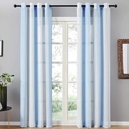 Topfinel Transparente Vorhänge mit Ösen Blau-Weiß-Streifen Voile Gardinen Dekoschal Fensterdekoration für Wohnzimmer und Küche 2er Set je 215x140cm (HxB) (Marine-blau Vorhänge Schlafzimmer Für)