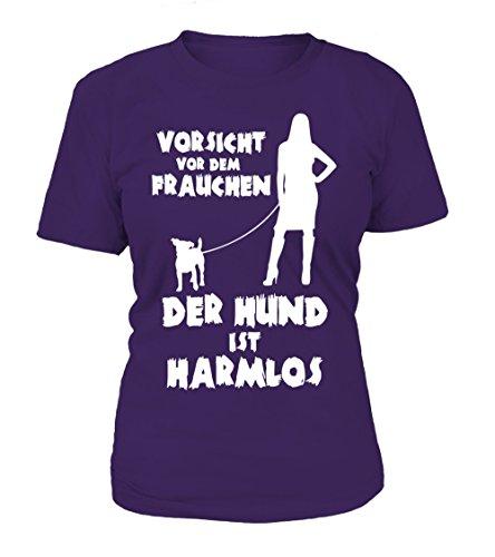 HUNDE Motiv T-Shirt: Vorsicht vor dem Frauchen - der Hund ist harmlos (Jack Russel) - Damen Shirt Größe S bis XXXXL - in versch. Farben purple - violet