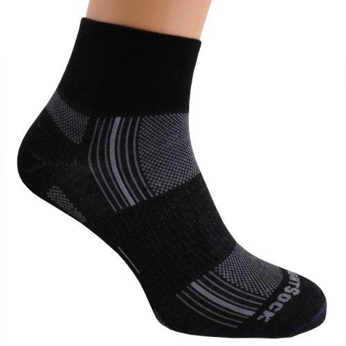 WrightSock Profi Sportsocke, Laufsocke, Wandersocke in schwarz, Anti-Blasen-System, doppel-lagig, Quarter mittellang, Gr. L (Wrightsock Damen Socken)