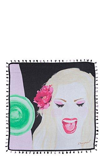 Desigual Squared Faces Bla - Foulard - Imprimé - Femme Noir (Negro)