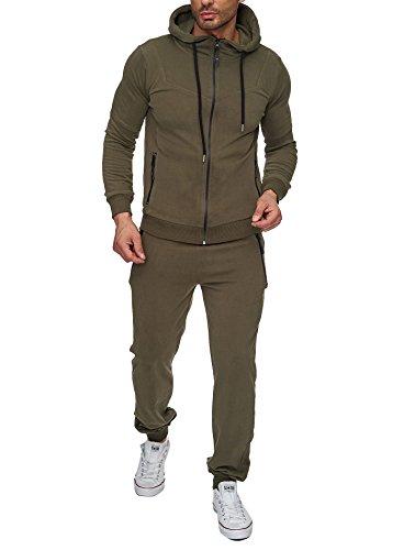 Reslad Trainingsanzug Herren Jogginganzug für Männer Sportanzug Freizeitanzug Jogginghose + Zip Sweatshirt Oberteil RS-5063 Khaki M
