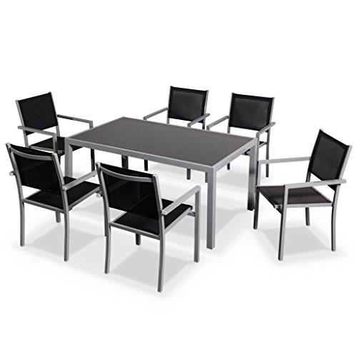 Alice's Garden Salon de jardin en aluminium et textilène - Capua - Gris, noir - 6 places - 1 grande table rectangulaire, 6 fauteuils empilables
